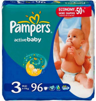 Подгузники Pampers Active Baby Midi 4-9 кг, 96 шт (3)