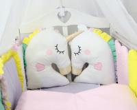ByTwinz Комплект для круглой кроватки с игрушками Единороги 7 предметов