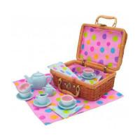 Чайный сервиз ALEX Горошек в плетеном чемоданчике