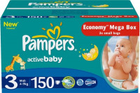 Подгузники Pampers Active Baby 4-9 кг 150 шт Мега (3)