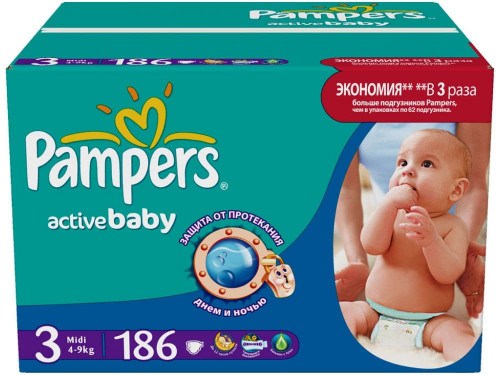 Подгузники Pampers Active Baby 4-9 кг 186 шт Мега Плюс (3)