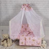 Комплект в кроватку Happych Мишкина зайка 7 предметов Розовый