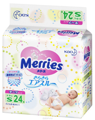 Подгузники Merries Air Through 4-8 кг 24 шт