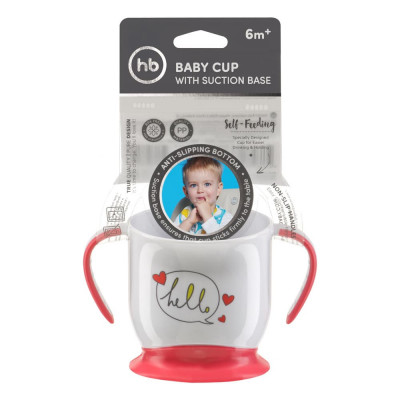 Кружка Happy Baby на присоске BABY CUP WITH SUCTION BASE Красный