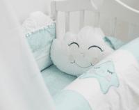 ByTwinz Комплект в кроватку с игрушками Звездочка голубой 4 предмета