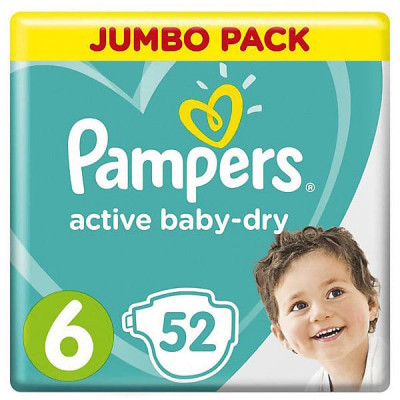 Подгузники Pampers 6 Active Baby-Dry Extra Large 13-18 кг 52 шт