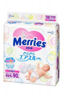 Подгузники Merries Air Through 0-5 кг 90 шт