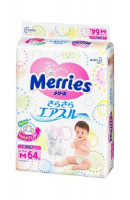 Подгузники Merries Air Through 6-11кг 64шт