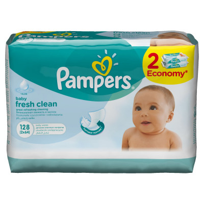 Салфетки Pampers Baby Fresh 2х64 з/блок (6)