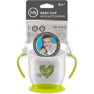 Кружка Happy Baby на присоске BABY CUP WITH SUCTION BASE Лайм