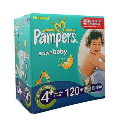 Подгузники Pampers Active Baby Maxi Plus 9-16 кг 120 шт