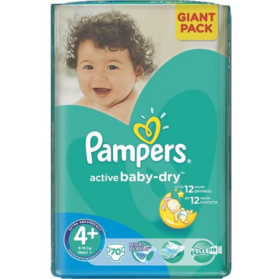 Подгузники Pampers Active Baby Maxi Plus 9-16 кг 70 шт
